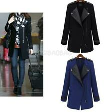 Winter Women Warm Big Lapel Collar Coat Long Leather Sleeve Jacket Parka Trench