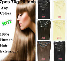 """US STOCK Straight 20""""22""""30g,70g,80g Clip In Remy Real Human Hair Extensions Full"""