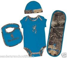 Browning Baby Boys Onesie Bib Burp Cloth Beanie Camo Bright Blue Infant Outfit