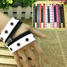 Men Women Color Choose Zipper Genuine Leather Punk Gothic Bracelet Wristband New