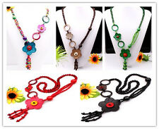 Hot Handmade Coconut Shell Carved Flower Pendant Necklace More Colors Options