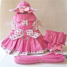 Strawberry Patch Dog Dress 4 Pc Set with Hat, Panties, & Leash XS, S, M, L