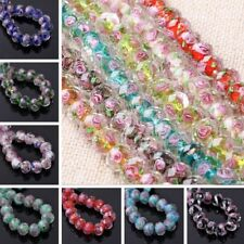 10Pcs Faceted Lampwork Glass Charms Rose Flower Loose Spacer Bead 12x8mm,Hot