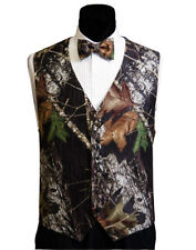 Mens Mossy Oak Tuxedo Vest Camo Bow Tie Camouflage Free Hankie and Priority Ship