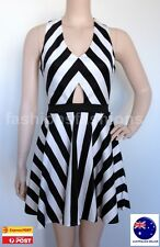 Women Black & White Striped Sleeveless V-neckline A-line Mini Dress 6 8 10 12