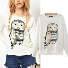 New Autumn Cute White Owl Animal Print Beading Hoodies Pullover Women T-shirts