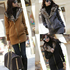 Women Leopard Hoodie Tops Fleece Jacket Coat Sweatshirt Zip Outwear