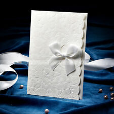 Elegant Embossed Wedding Invitations Cards With Bowknot And Envelopes, Seals