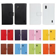 Fashion Real Genuine Leather Case Flip Wallet Cover for LG Google Nexus 4 E960