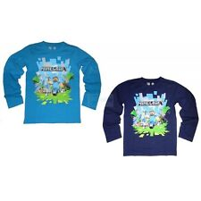 Kids Minecraft Long Sleeved Top T-shirt Age 5-14 Navy Blue Creeper Steve