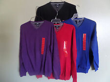 NWT Men's Foxcroft Cashmere Cotton Blend V Neck Sweater various sizes