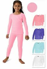 Girls 100% Cotton Light Weight Waffle Knit Thermal Top & Bottom Underwear Set
