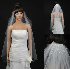 2T White/Ivory Wedding Bridal Fingertip Length Cut Edge Beaded Veil with Pearls