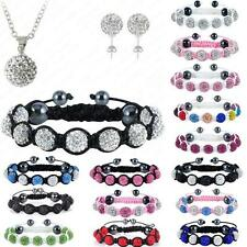 Fashion Womens Silver Plated Jewelry Shamballa Bracelet&Earring&Necklace Sets