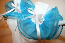 Girls White Nylon & Turquoise Organza Bobby Socks with White Satin Ribbon Bows