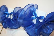 Girls White Nylon Bobby Socks with Royal Blue Organza Ruffle & Satin Ribbon Bows