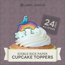 24 Edible Cup Cake Toppers | Rainbow Bird | Birthday Wedding Baby Party | 052