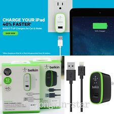 Belkin 2.4A Travel US Home Wall Charger with USB port Cable For iphone 5/5C/5S