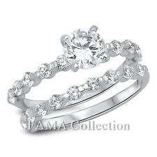 FAMA 925 Sterling Silver Wedding Ring Set Round Solitaire w/ Paved CZ Size 5-7