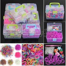 1000pcs Colorful Rubber Bands Bracelet DIY Kit Hook Clip Charms For Rainbow Loom