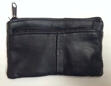 LADIES MENS BOYS GIRLS SOFT LEATHER BLACK ZIPPED COIN CHANGE WALLET PURSE A470