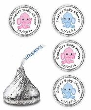 PINK BLUE ELEPHANT THEME BABY SHOWER PARTY FAVORS KISSES LABELS STICKERS DECALS