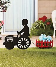 Metal Old Fashioned Vintage Silhouette Tractor With Wood Wagon Planter Boy Yard