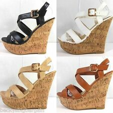 New Women's Fashion High Heel Wedge Cork Sandal Platform Open Toe Strappy Pumps