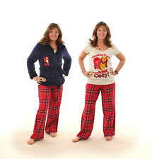 LADIES WINNIE THE POOH PYJAMAS AND SHORT HOODED DRESSING GOWN NAVY + RED 8 - 22