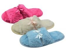 Ladies Womens Slippers Super Comfy Warm Faux Fur Satin Bow Open Toe