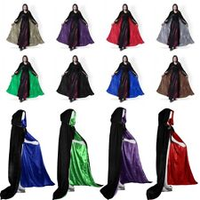 In Stock MEDIEVAL Hooded Cloaks Wedding Coat Halloween Velvet Capes Shawl S-XXL