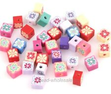 50PCS Mixed Color Polymer Clay Fimo Cube Shape Loose Spacer Beads Jewelry DIY
