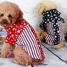 Dog Spring Summer Clothes American Flag Pattern Dog Shirt Pet Two Legs Clothing