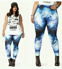 Forever 21+ Plus size Galaxy Celestial Blue Print Stretch  Leggings XL1X2X3X