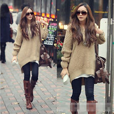 USA Autumn Winter Long Sleeve Oversized Batwing Knit Sweater Jumper Pullover Top