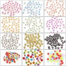 50pcs Acrylic Mixed Alphabet Letter Coin Round Flat Spacer Beads DIY,4x7MM