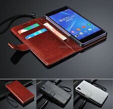 Wallet Flip Folio Leather Case Cover For Sony Xperia Z3 Compact Z2 Z1 Z E3 T3 T2