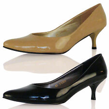 WOMENS SHOES LADIES LOW KITTEN HEELS POINTED TOE COURT SMART WORK OFFICE SIZE