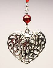 Christmas Tree Ornament Decoration Silver Heart with Swarovski Crystal