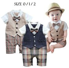 Baby Boy Short Sleeve Plaid detail One piece Tuxedo Vest & Bow Romper Size 0.1.2