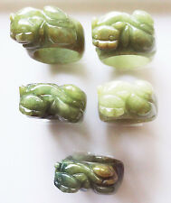 NATURAL TRANSLUCENT GREEN JADEITE JADE CHINESE LION MAN'S RING : SIZE 9.5 -10US