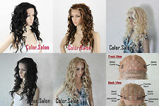 HAND TIED Synthetic Hair LACE FRONT FULL WIGS GLUELESS Long Wavy 99 Series