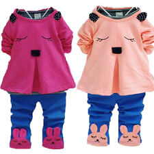 2PCS FALL Baby Kids Cute Mini Rabbit Tops Shirt+Pants Trousers Girls Outfit Sets