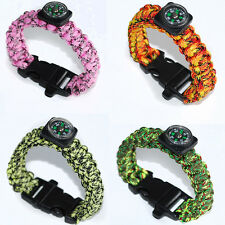 Useful 550 Rope Paracord Survival Bracelet Compass Whistle Outdoor Climbing