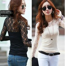 SEXY WOMEN Lace O-neck Long Sleeve LADIES T-Shirt Top Stretch Casual BLOUSE TopS