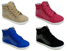 Girls Childrens Kids Lace Up Casual Flat Pumps Hi Top Trainer Boots Shoe Size