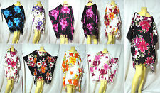 VTG retro HIPPIE BOHO HAWAII FLORAL Hibiscus tunic tent kaftan dress top coverup