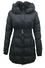 Womens Ladies Quilted Zip Padded Collar Belted Winter Coat Jacket (8,10,12,14,)