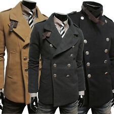 Men's Fashion Double Breasted Woolen Trench Jackets Casual Slim Coats Outwear