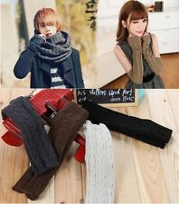 Women&Men Fingerless Winter Mitten Crochet Long Sleeve Gloves Braided Knit Arm